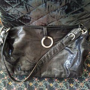 Vintage Black Alligator Shoulder Bag